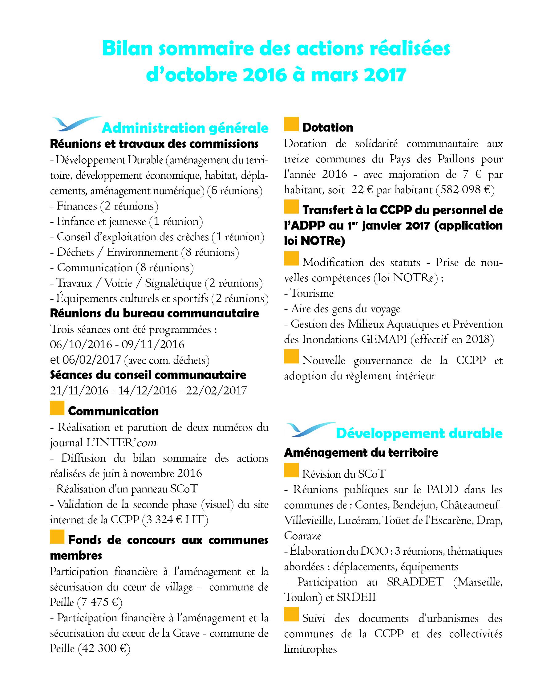 Vignette Bilan octobre 2016 mars 2017